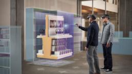 Modèle 3d d'un aménagement d'espace d'un magasin avec affichage dans HoloLens et utilisation d'Azure Remote Rendering